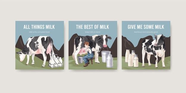 Szablon transparent z koncepcją światowego dnia mleka, styl przypominający akwarele