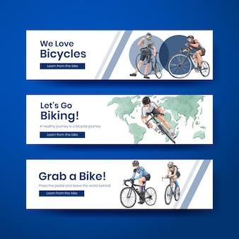 Szablon transparent z koncepcją światowego dnia roweru, styl przypominający akwarele