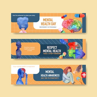 Szablon transparent z koncepcją światowego dnia zdrowia psychicznego do reklamy i marketingu ilustraion wektor akwarela.