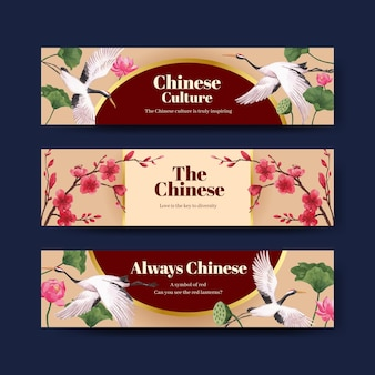 Szablon transparent z koncepcją szczęśliwego chińskiego nowego roku z reklamą i marketingową ilustracją akwarela