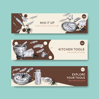 Szablon transparent z koncepcją urządzeń kuchennych do reklamy ilustracji wektorowych