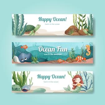 Szablon transparent z koncepcją zachwycony oceanem w stylu akwareli