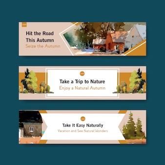 Szablon transparent z krajobrazem w jesiennym designie