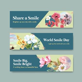 Szablon transparent z projektem bukietu kwiatów dla koncepcji światowego dnia uśmiechu do reklamowania i marketingu ilustraion wektor akwarela.