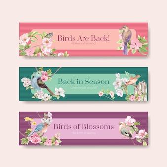 Szablon transparent z ptakami i koncepcją wiosny