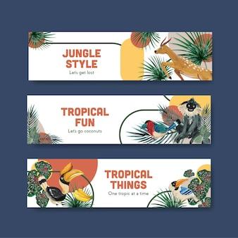Szablon transparent z tropikalnym współczesnym projektem do reklamy i marketingu akwareli