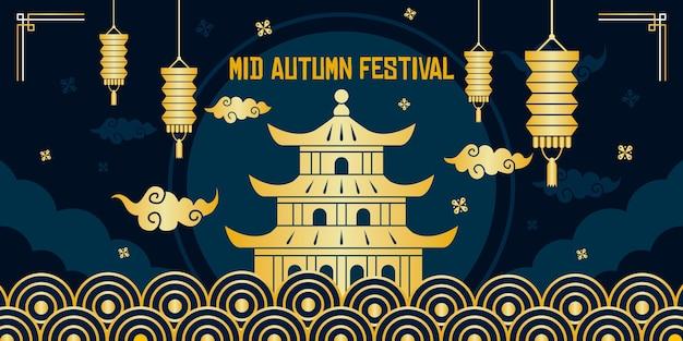 Szablon transparent złoty festiwal w połowie jesieni