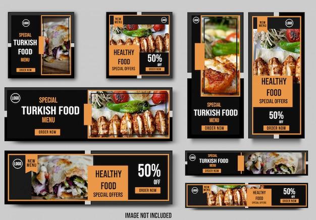Szablon transparent żywności na różne rozmiary, motyw tureckiej żywności