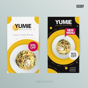 Szablon transparent żywności. zestaw banerów społecznościowych