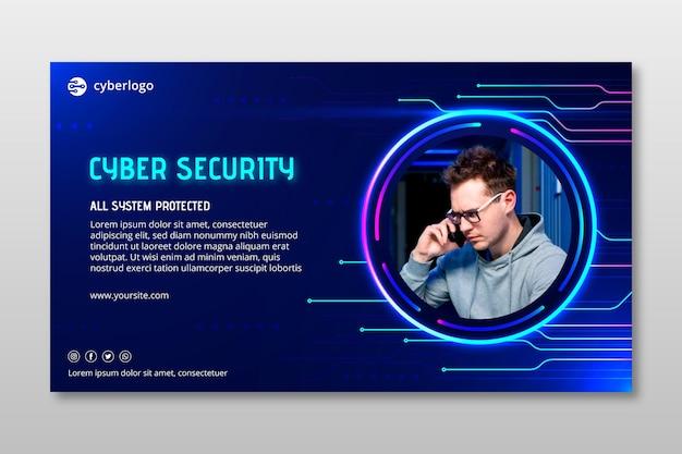 Szablon transparentu bezpieczeństwa cybernetycznego ze zdjęciem