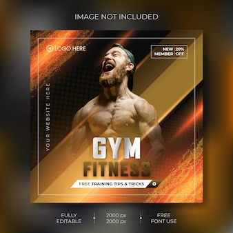 Szablon transparentu fitness mediów społecznościowych wektor premium