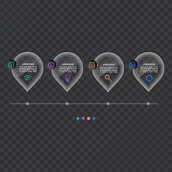 Szablon transparentu infografiki w stylu szkła lub błyszczącym, koncepcja biznesowa z 4 opcjami, format wektorowy