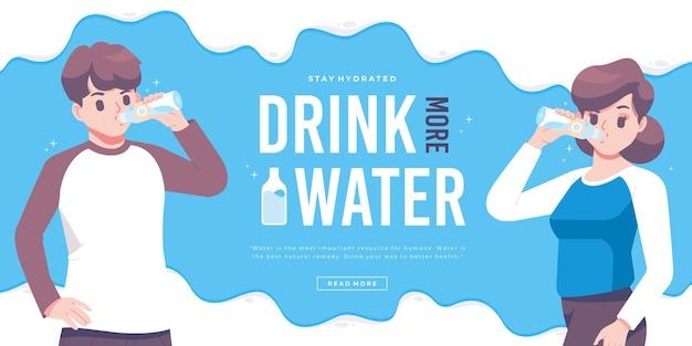 Szablon Transparentu Kampanii Pić Wodę Premium Wektorów