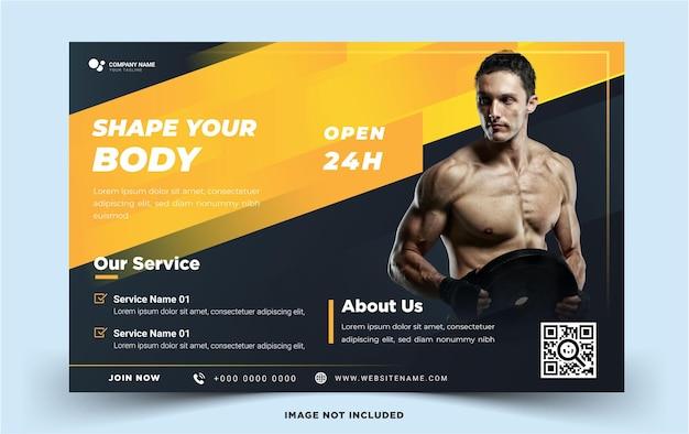 Szablon transparentu krajobrazowego siłowni fitness z nowoczesną koncepcją szablon wektora ciemnożółtego koloru