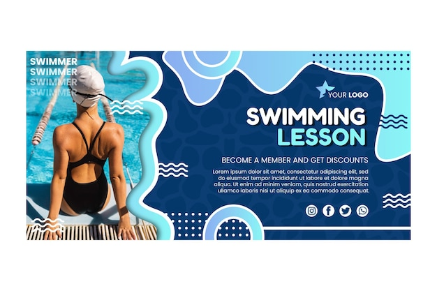 Szablon transparentu lekcji pływania