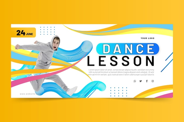 Szablon transparentu lekcji tańca