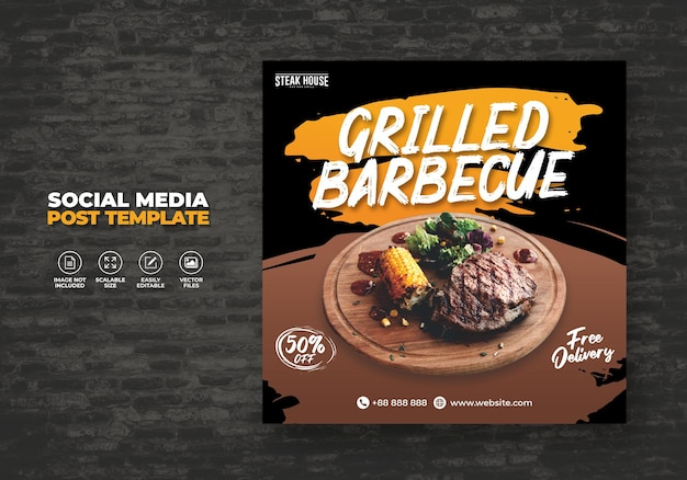 Szablon transparentu mediów społecznościowych menu restauracji żywności