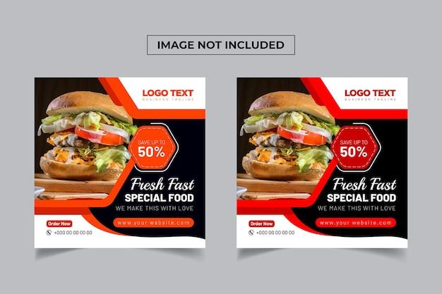 Szablon transparentu mediów społecznościowych ze świeżą, zdrową żywnością