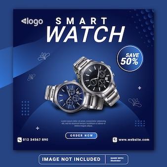 Szablon transparentu postu w mediach społecznościowych smart watch