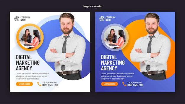 Szablon transparentu postu w mediach społecznościowych z agencją marketingu cyfrowego