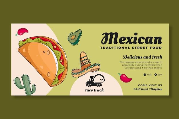 Szablon transparentu poziomego meksykańskiego jedzenia