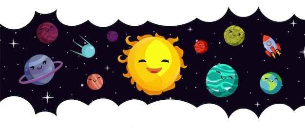 Szablon transparentu przestrzeni. wektor kreskówka planety, układ słoneczny i rakieta. wszechświat i gwiaździste niebo. ilustracja kreskówka planety i nieba