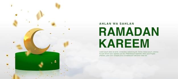Szablon transparentu ramadan kareem ozdobiony realistycznym półksiężycem stojącym na podium islamskie święto eid mubarak