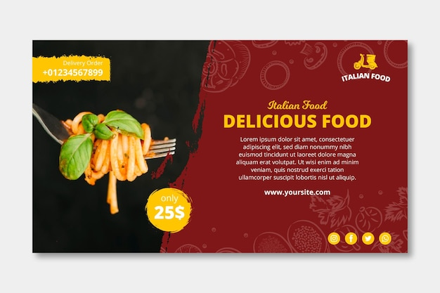 Szablon transparentu reklamy włoskiej żywności