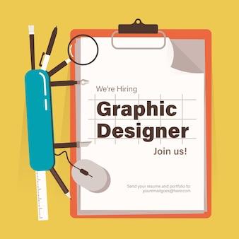 Szablon transparentu rekrutacyjnego dla projektanta graficznego