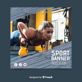Szablon transparentu sportowego ze zdjęciem