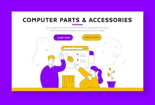 Szablon transparentu strony docelowej części i akcesoriów komputerowych. asystent sklepu z postaciami z kreskówek pomaga kobiecie wybrać mysz komputerową w sklepie internetowym. ilustracja płaski