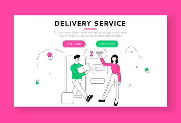 Szablon transparentu strony docelowej usługi dostawy. żeńska klientka spotykająca się z kurierem z pudełkiem przybywającym na czas po złożeniu zamówienia w aplikacji online na smartfonie