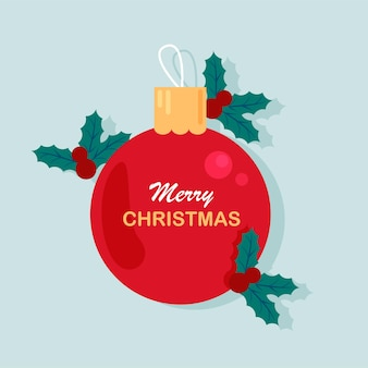 Szablon transparentu świątecznego zimowe wakacje plakat zabawka choinkowa i jemioła