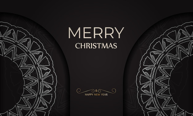 Szablon transparentu szczęśliwego nowego roku i wesołych świąt w kolorze czarnym z białym wzorem.