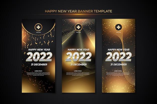 Szablon transparentu szczęśliwego nowego roku z czarnym złotym stylem backround