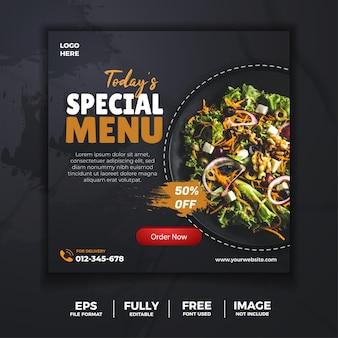 Szablon transparentu w mediach społecznościowych z zielonym pysznym jedzeniem
