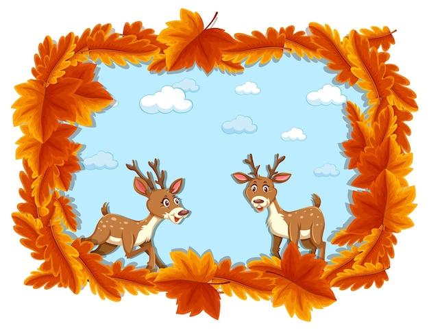 Szablon transparentu z czerwonymi liśćmi z postacią z kreskówki jelenia