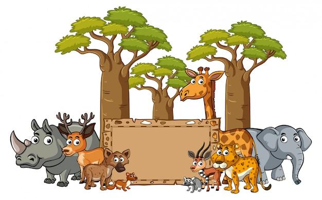 Szablon transparentu z dzikimi zwierzętami