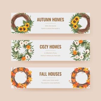 Szablon transparentu z jesienną przytulną koncepcją domu, w stylu akwareli