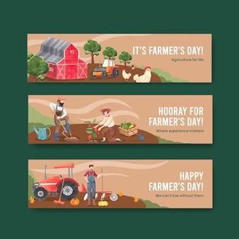 Szablon transparentu z koncepcją dnia rolników krajowych, styl akwareli