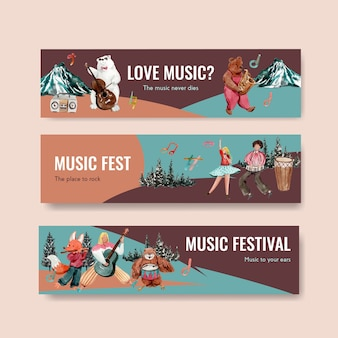 Szablon transparentu z koncepcją festiwalu muzycznego do reklamy i marketingu ilustracji wektorowych akwarela