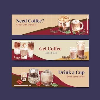 Szablon transparentu z koncepcją koreańskiego stylu kawy do reklamy i marketingu akwareli
