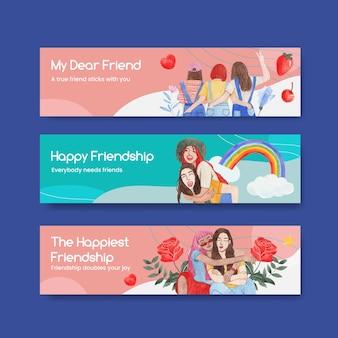 Szablon transparentu z koncepcją narodowego dnia przyjaźni, styl akwareli