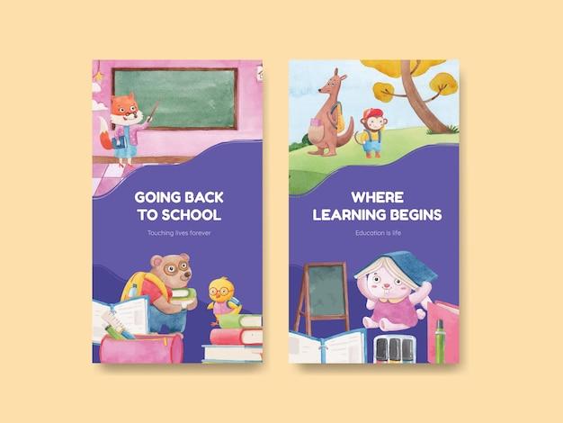 Szablon transparentu z koncepcją powrotu do szkoły i uroczych zwierzątek, styl akwareli