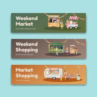 Szablon transparentu z koncepcją rynku weekendowego, styl akwareli