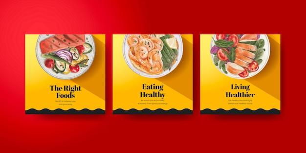 Szablon transparentu z koncepcją zdrowej żywności, styl akwareli