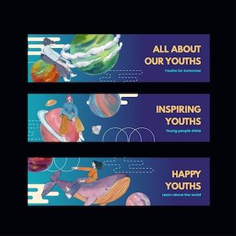 Szablon transparentu z międzynarodowym dniem młodzieży w stylu akwareli