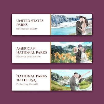 Szablon transparentu z parkami narodowymi koncepcji stanów zjednoczonych, styl akwareli