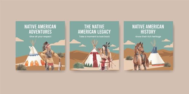 Szablon transparentu z rodowitymi amerykanami w stylu akwareli