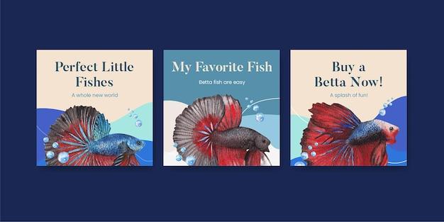 Szablon transparentu z rybą betta w stylu akwareli